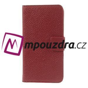 Peněženkové PU kožené pouzdro na HTC Desire 310- červené - 3