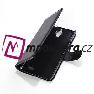 Peněženkové PU kožené pouzdro na Alcatel One Touch Idol OT-6030D- černé - 3
