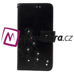 Floay PU kožené pouzdro s kamínky na mobil Honor 8 - černé - 3