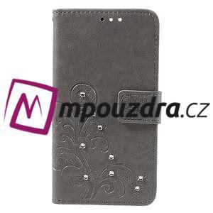Floay PU kožené pouzdro s kamínky na mobil Honor 8 - šedé - 3