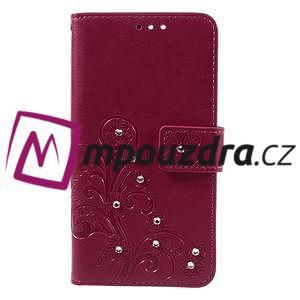 Floay PU kožené pouzdro s kamínky na mobil Honor 8 - rose - 3
