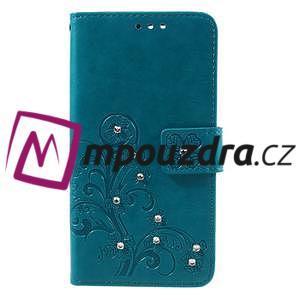 Floay PU kožené pouzdro s kamínky na mobil Honor 8 - modré - 3