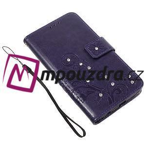 Floay PU kožené pouzdro s kamínky na mobil Honor 8 - fialové - 3