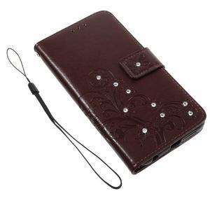 Floay PU kožené pouzdro s kamínky na mobil Honor 8 - hnědé - 3