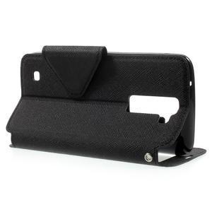 Diary PU kožené pouzdro s okýnkem na LG K8 - černé - 3