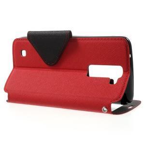 Diary PU kožené pouzdro s okýnkem na LG K8 - červené - 3