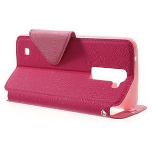 Diary PU kožené pouzdro s okýnkem na LG K8 - rose - 3