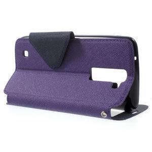 Diary PU kožené pouzdro s okýnkem na LG K8 - fialové - 3