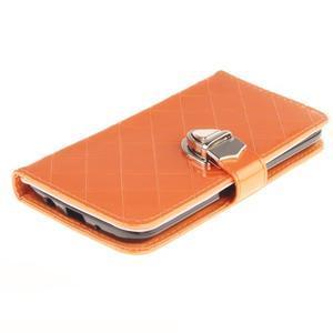 Luxusní PU kožené pouzdro s přezkou na LG K8 - oranžové - 3