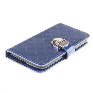 Luxusní PU kožené pouzdro s přezkou na LG K8 - modré - 3