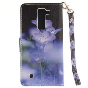 Style PU kožené pouzdro na LG K8 - fialové květiny - 3