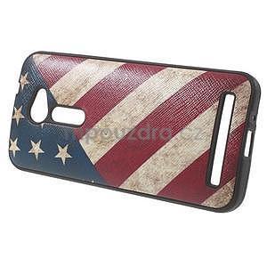 Gelový obal s imitací vroubkované kůže na Asus Zenfone 2 ZE500CL - vlajka USA - 3