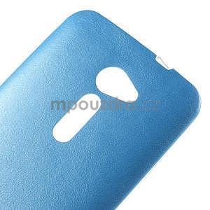 Gelový kryt s imitací kůže Asus Zenfone 2 ZE500CL - modrý - 3