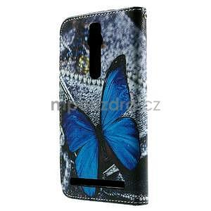 Zapínací peněženkové pouzdro na Asus Zenfone 2 ZE551ML - modrý motýl - 3