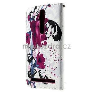 Zapínací peněženkové pouzdro na Asus Zenfone 2 ZE551ML - květiny - 3