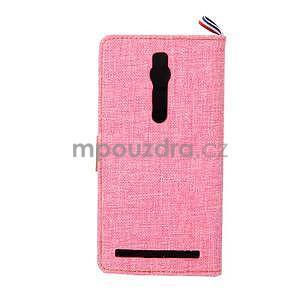 Růžové peněženkové látkové/PU kožené pouzdro pro Asus Zenfone 2 ZE551ML - 3