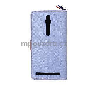 Světle modré peněženkové látkové/PU kožené pouzdro pro Asus Zenfone 2 ZE551ML - 3