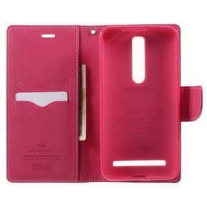 Zapínací PU kožené pouzdro na Asus Zenfone 2 ZE551ML - růžové - 3
