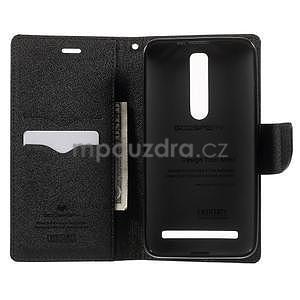 Zapínací PU kožené pouzdro na Asus Zenfone 2 ZE551ML - černé - 3