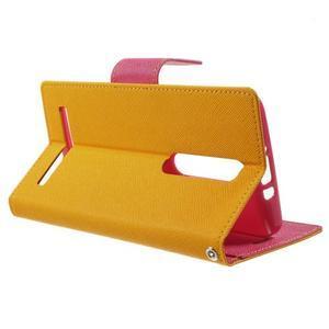 Zapínací PU kožené pouzdro na Asus Zenfone 2 ZE551ML - žluté - 3