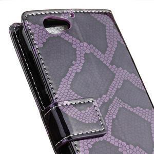 SnakeŠtýle PU kožené peňaženkové puzdro pre HTC One A9s - fialové - 3