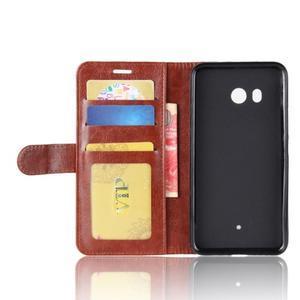 Crazy Pu kožené peněženkové pouzdro na mobil HTC U11 - hnědé - 3