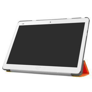 Trifold polohovatelné PU kožené pouzdro na Huawei MediaPad M3 Lite 10 - oranžové - 3