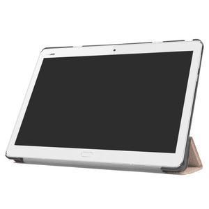 Trifold polohovatelné PU kožené pouzdro na Huawei MediaPad M3 Lite 10 - zlatorůžové - 3