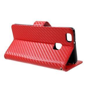 Carbon PU kožené pouzdro na Huawei P9 Lite - červené - 3
