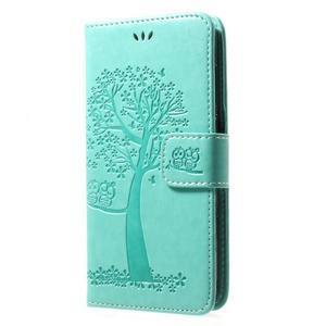 Tree PU kožené pouzdro na Huawei Y6 (2017) - azurové - 3