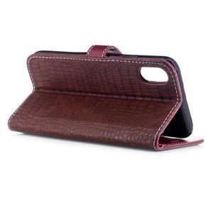 Croco PU kožené peněženkové pouzdro na iPhone X - vínové - Mpouzdra.cz 2f3bd6d7558