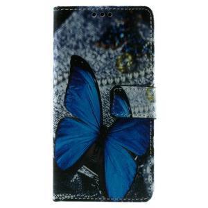 Peněženkové PU kožené pouzdro Lenovo Vibe X2 - modrý motýl - 3