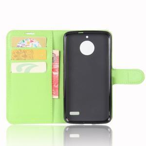 Grain PU kožené pouzdro na mobil Lenovo Moto E4 - zelené - 3