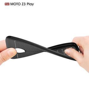 Litch gelový odolný obal s texturou na Lenovo Moto Z3 Play - tmavě modrý - 3