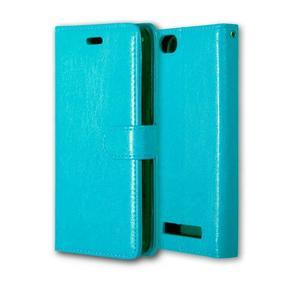 Fashion PU kožené pouzdro na mobil Lenovo Vibe C A2020 - modré - 3