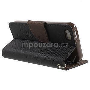 Dvoubarevné peněženkové pouzdro na iPhone 5 a 5s - černé/hnědé - 3