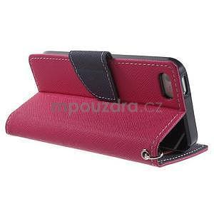 Dvoubarevné peněženkové pouzdro na iPhone 5 a 5s - rose/tmavěmodré - 3