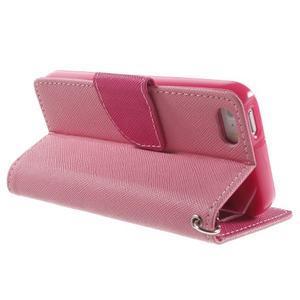 Dvoubarevné peněženkové pouzdro na iPhone 5 a 5s - růžové/rose - 3