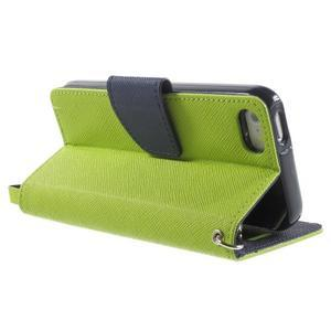 Dvoubarevné peněženkové pouzdro na iPhone 5 a 5s - zelené/tmavěmodré - 3