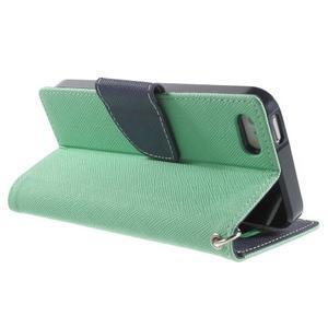 Dvoubarevné peněženkové pouzdro na iPhone 5 a 5s - azurové/tmavěmodré - 3