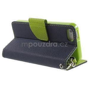 Dvoubarevné peněženkové pouzdro na iPhone 5 a 5s - tmavěmodré/zelené - 3