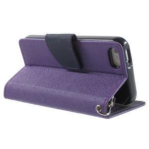 Dvoubarevné peněženkové pouzdro na iPhone 5 a 5s - fialové/tmavěmodré - 3