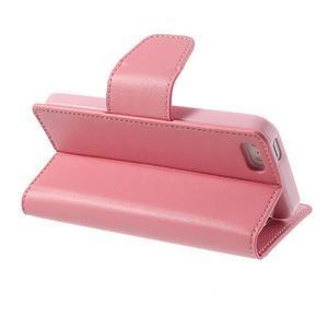 Peněženkové koženkové pouzdro na iPhone 5s a iPhone 5 - růžové - 3