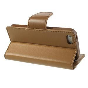 Peněženkové koženkové pouzdro na iPhone 5s a iPhone 5 - coffee - 3