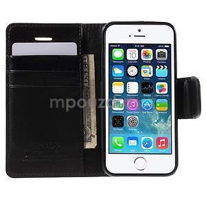 Peněženkové koženkové pouzdro na iPhone 5 a iPhone 5s - černé - 3