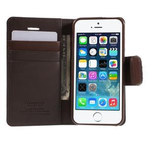 Peněženkové koženkové pouzdro na iPhone 5 a iPhone 5s - tmavěhnědé - 3