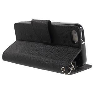 Dvoubarevné peněženkové pouzdro na iPhone 5 a 5s - černé/ černé - 3
