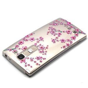 Průhledný gelový obal na LG G4c - švestkové květy - 3