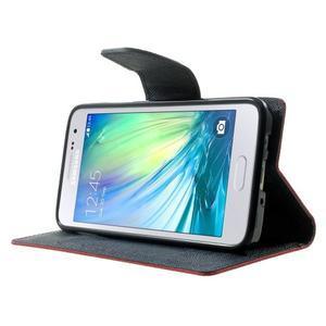 Diary PU kožené pouzdro na Samsung Galaxy A3 - červené - 3