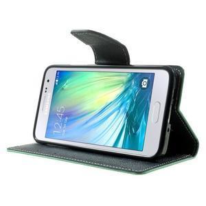 Diary PU kožené pouzdro na Samsung Galaxy A3 - cyan - 3